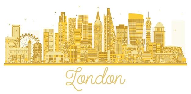 Золотой силуэт горизонта города лондона. векторная иллюстрация. простая плоская концепция для туристической презентации, баннера, плаката или веб-сайта. городской пейзаж с достопримечательностями
