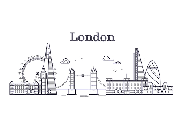 London city skyline with famous buildings, tourism england landmarks outline vector illustration