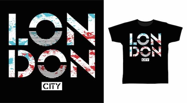 런던 시티 세련된 타이포그래피 티셔츠 디자인