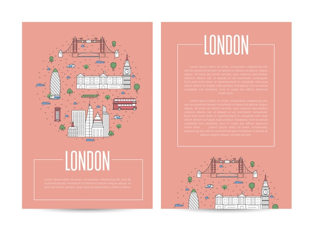 London city traveling advertising in linear style