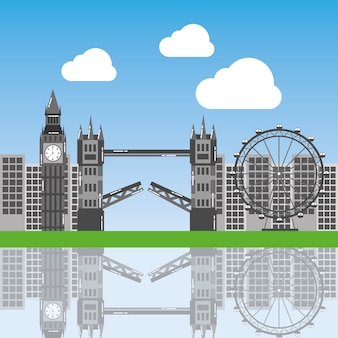 London city with famous buildings tourism england landmarks