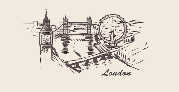 London cityscape skyline sketch