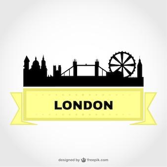 London cityscape and yellow ribbon