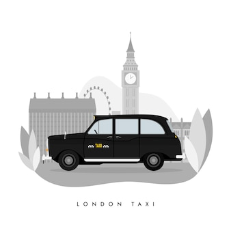 London classic black taxi cab illustration