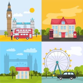 Цветные лондонские композиции с четырьмя квадратными иконами о туристических местах и достопримечательностях