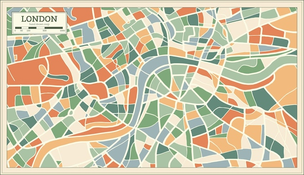 London england map in abstract retro style. vector illustration.