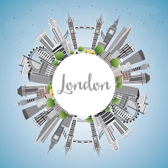 회색 건물, 푸른 하늘 및 복사 공간이 있는 런던 영국 스카이라인. 벡터 일러스트 레이 션.