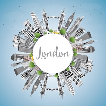 London england skyline with gray buildings, blue sky and copy space. vector illustration.