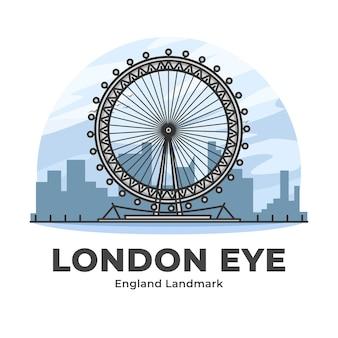 ロンドンアイイングランドランドマークミニマリスト漫画イラスト Premiumベクター