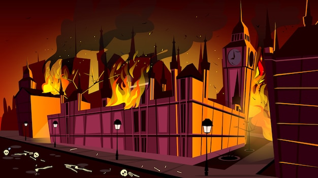 London in fire of plague epidemic illustration. london city burning at plague disease