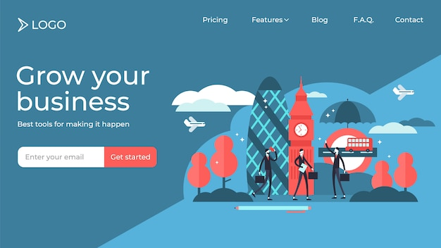 London flat tiny persons vector illustration landing page template design.