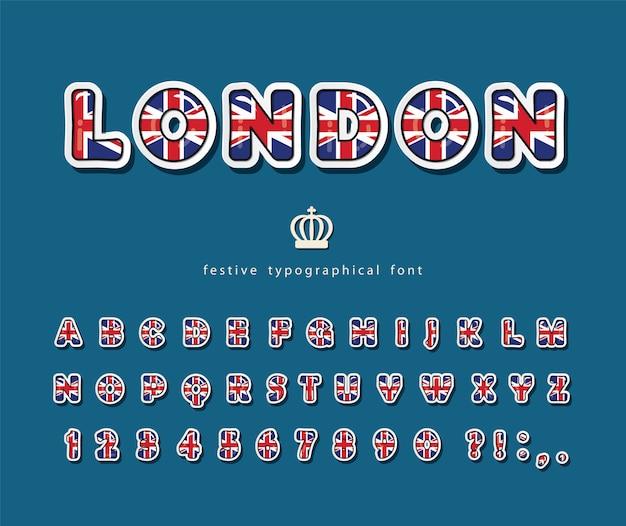 London font. british national flag colors.