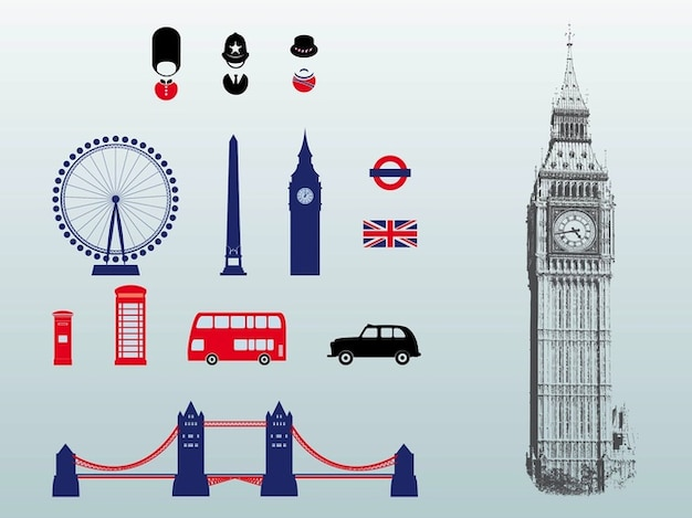 London great britain architecture vectors pack
