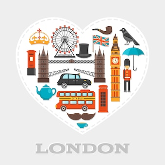 London heart composition or poster with icon set on london theme combined in big white heart