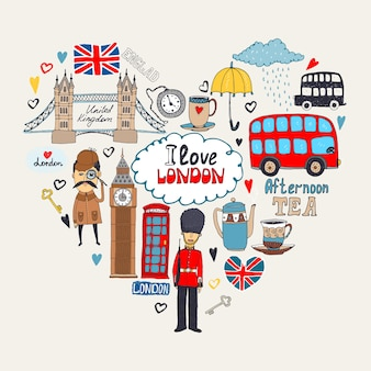 London in myheartまたはilovelondonカード