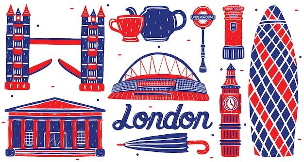 フラットなデザインスタイルのロンドンのランドマーク