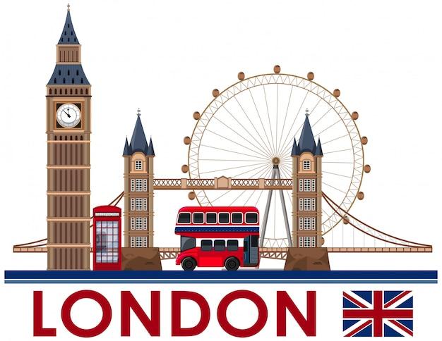 Лондонский ориентир на белом фоне