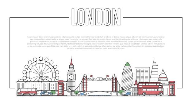Лондонский ориентир панорама в линейном стиле