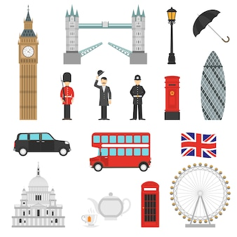 London landmarks flat icons set