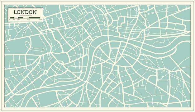 레트로 스타일의 런던 지도입니다. 벡터 일러스트 레이 션.