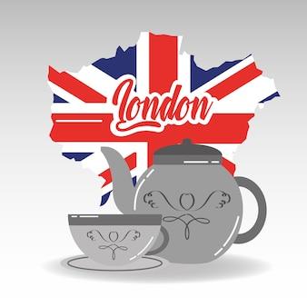 런던지도 도자기 주전자와 접시와 차 한잔