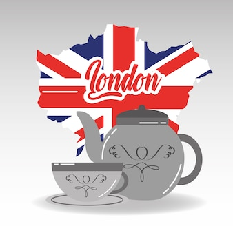 London map porcelain teapot and cup of tea with plate