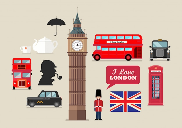 London national symbols vector set