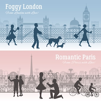 London and paris banners set