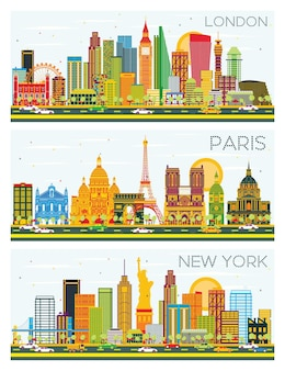 London, paris, new york skyline with color buildings and blue sky. vector illustration. business travel and tourism concept with historic architecture.