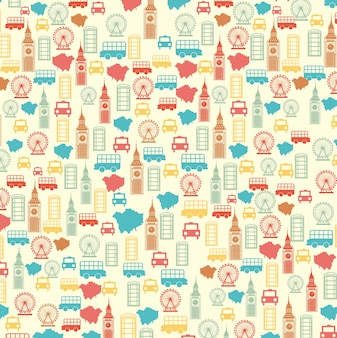 London pattern over beige background vector illutration