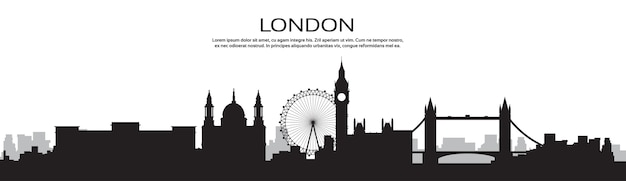 London silhouette english city view banner with copy space