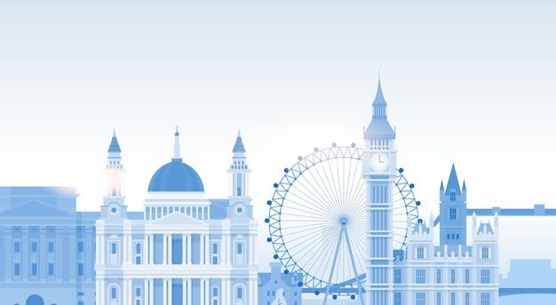London silhouette english city view copy space