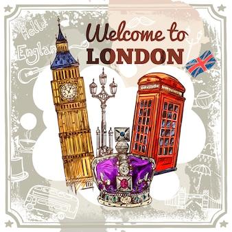 Лондонский эскизный плакат