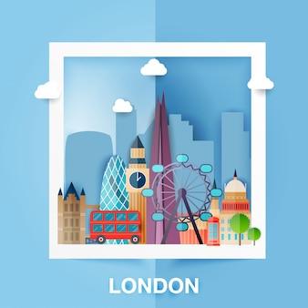 ロンドン。イギリスの首都の建物のスカイラインと風景。ビッグベン、橋、2階建ておよび電話。紙のスタイル。図。