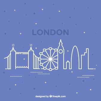 Лондонский горизонтальный дизайн в стиле контура