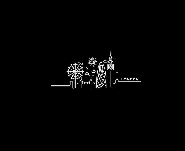 London skyline silhouette in black and white, vector illustration.