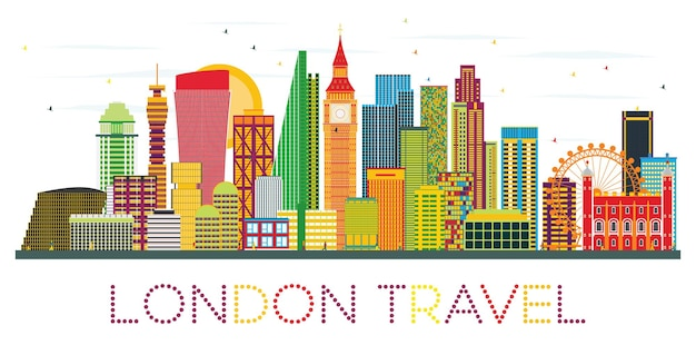 London skyline with color buildings. business travel and tourism concept with modern buildings. image for presentation banner placard and web site.