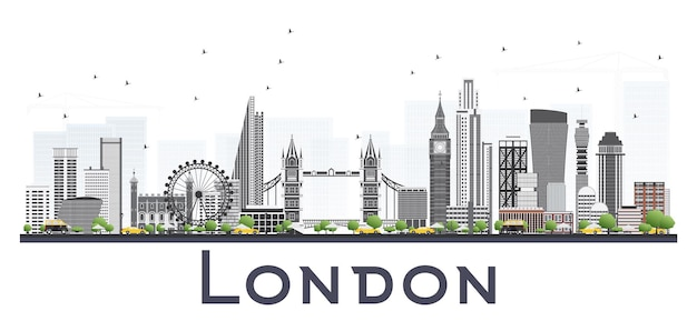 London skyline with gray buildings isolated