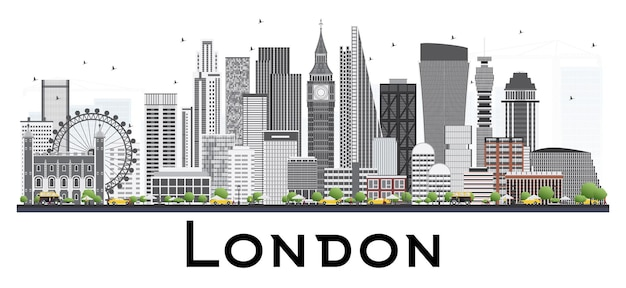 London skyline with gray buildings. vector illustration. isolated on white background. business travel and tourism concept. image for presentation banner placard and web site.
