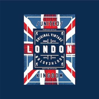 Лондонский текст с абстрактным флагом вектор типографии дизайн иллюстрация