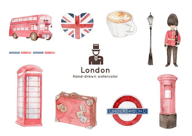 London theme watercolor illustration