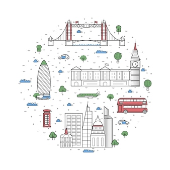 London travel elements in linear style