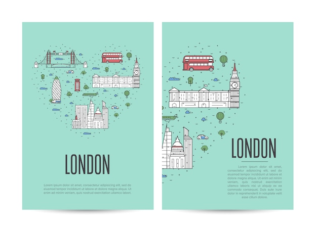 London travel tour booklet set in linear style