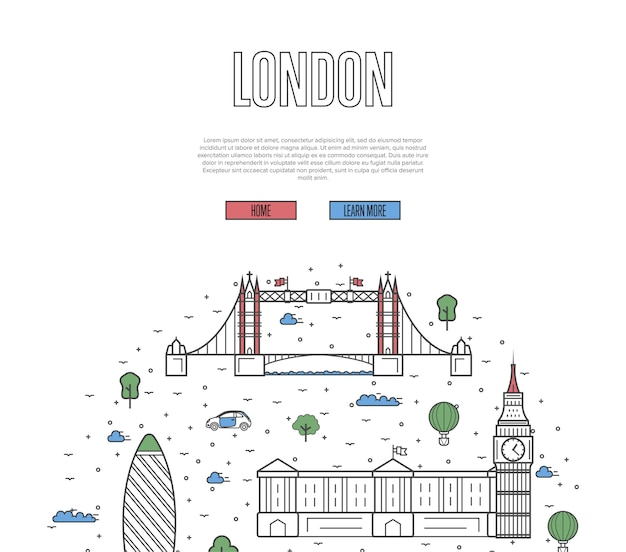 London travel tour template in linear style