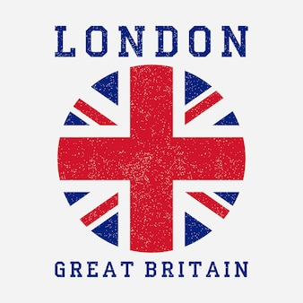 London typography with great britain flag grunge print for design clothes tshirt apparel