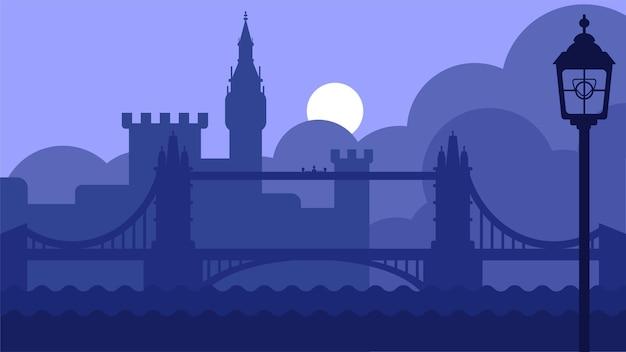 Лондонский пейзаж великобритании с замком и речным вектором
