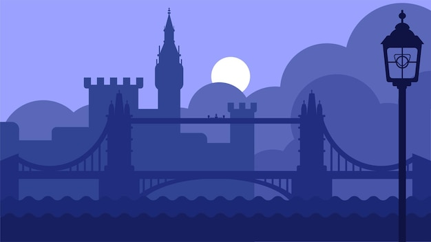 London uk landscape with castle and river vector