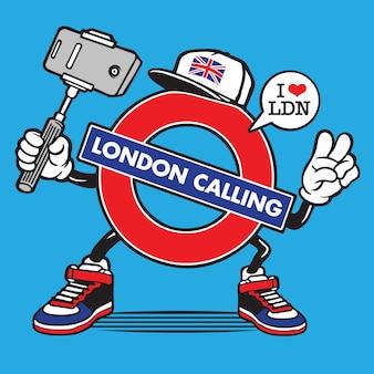 London underground united kingdom selfie character design