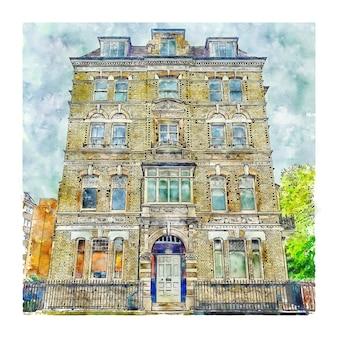 London united kingdom watercolor sketch hand drawn illustration
