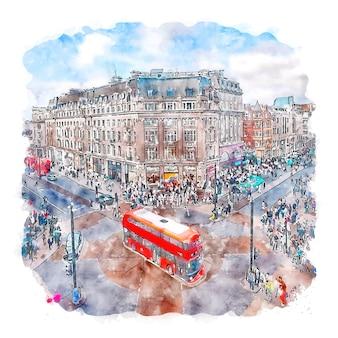 런던 영국 수채화 스케치 손으로 그린 그림